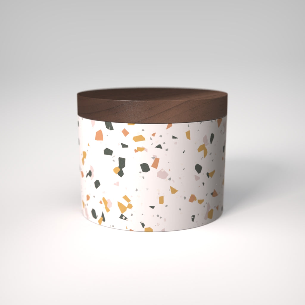 Terrazzo | Sinfonia Salt Cellar | Walnut Wood Lid