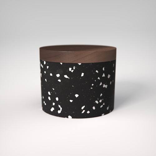 Terrazzo | Salt Cellar in Black colour / Stellato | Walnut Wood Lid