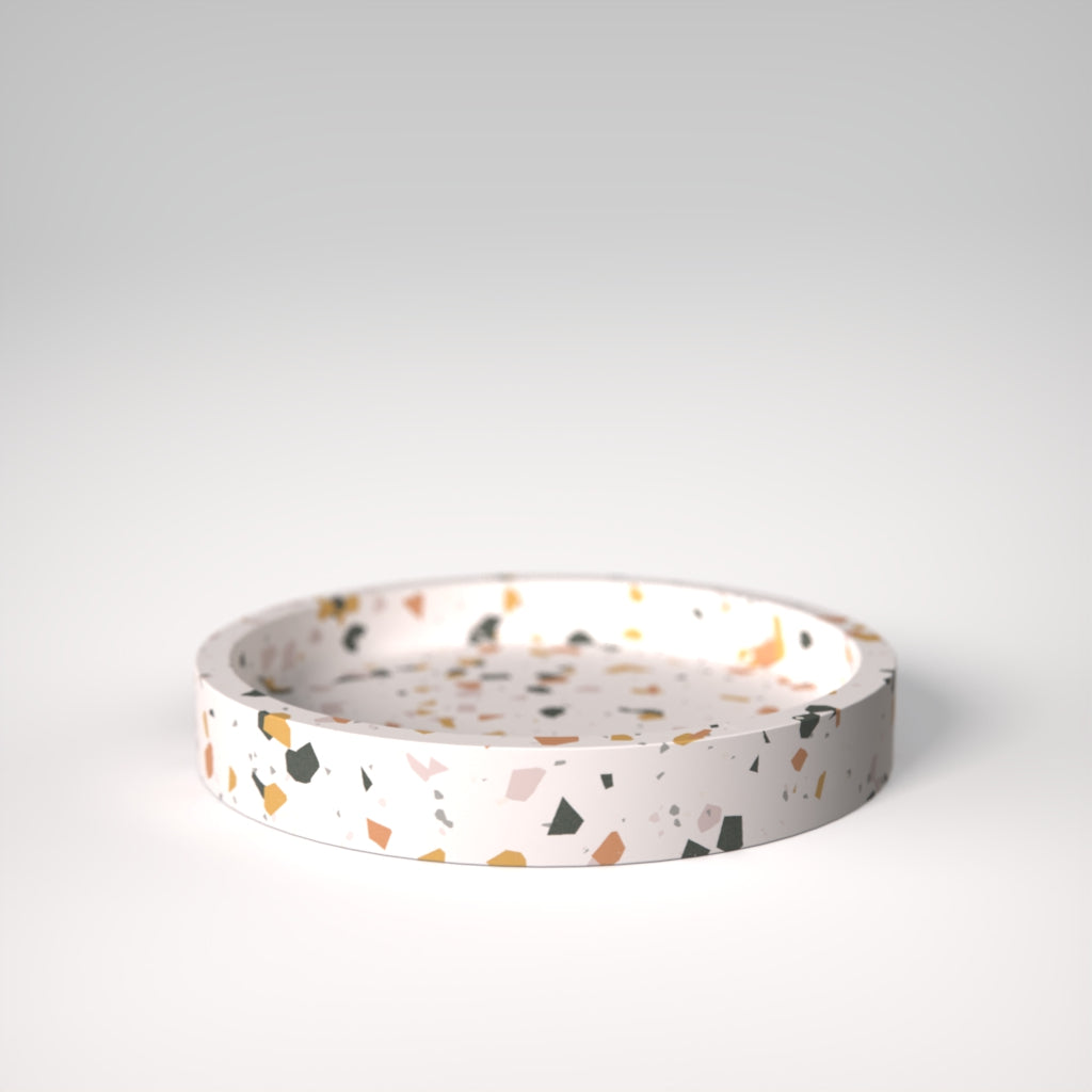 Terrazzo | Small plate in White with colourful chips / Sinfonia