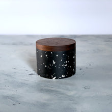 Load image into Gallery viewer, Terrazzo | Salt Cellar in Black colour / Stellato | Walnut Wood Lid