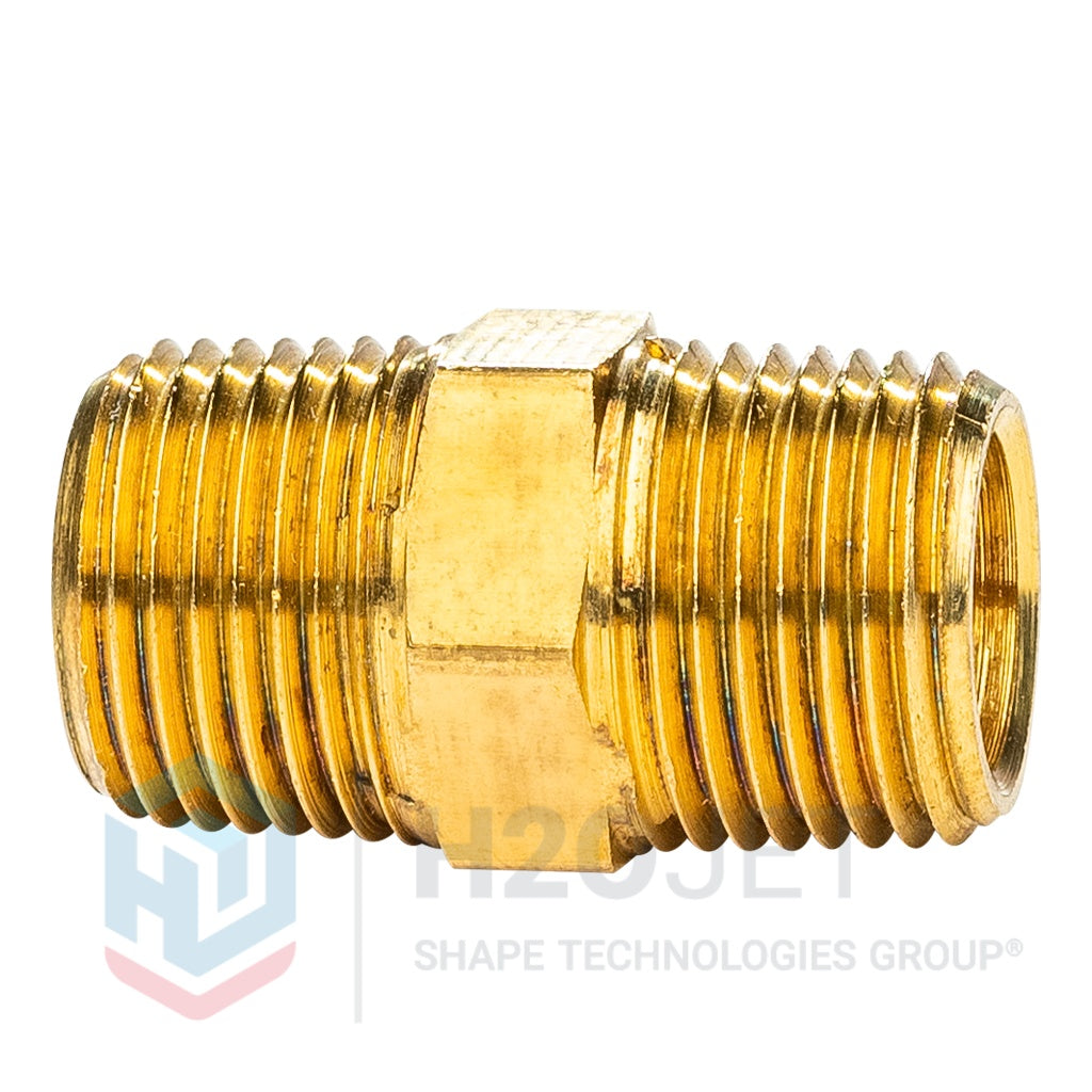 "Hex Nipple, 3/8"" NPT, Brass"