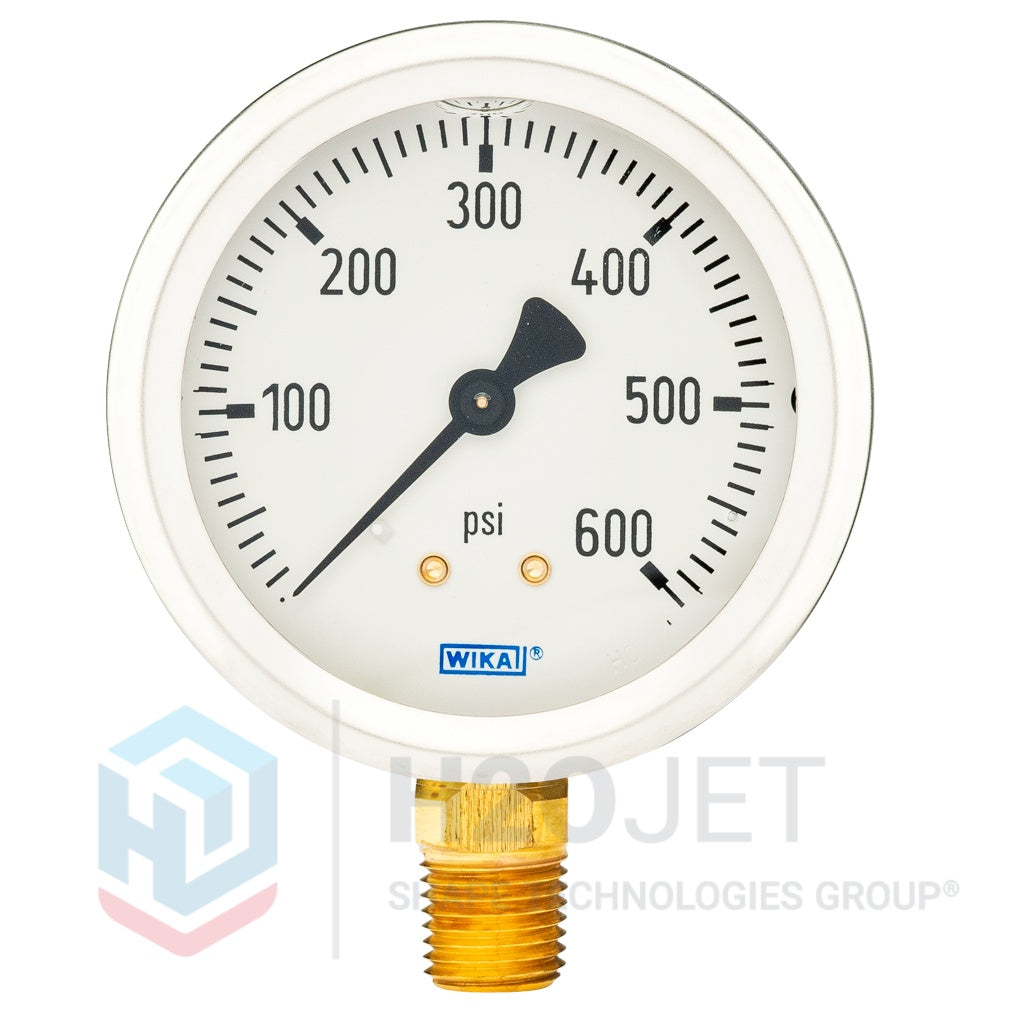 "Hydraulic Pressure Gauge 600psi Damped 1/4"" NPT Bottom"