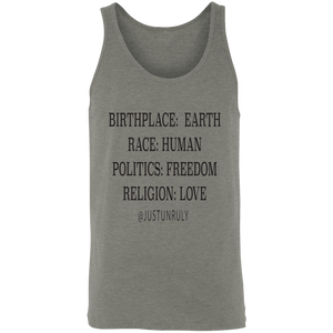 BIRTHPLACE: EARTH Unisex Tank