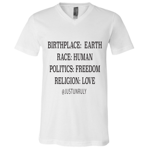 BIRTHPLACE:EARTH Unisex Jersey V-Neck T-Shirt