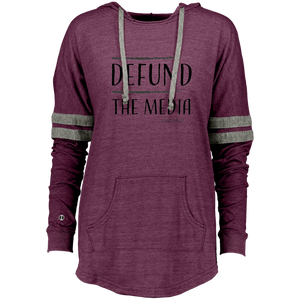 DEFUND THE MEDIA Ladies Hooded Low Key Pullover