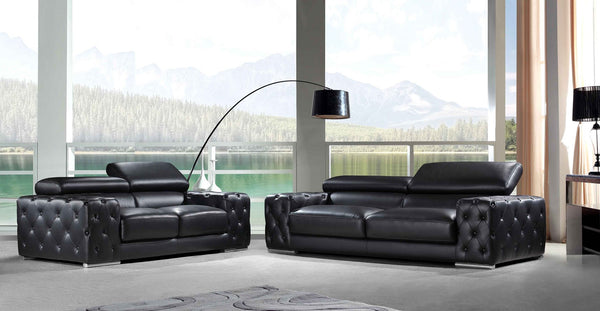 *MG* 3+2 seater Full Italian Leather Lounge Suite #766 , Black color in stock