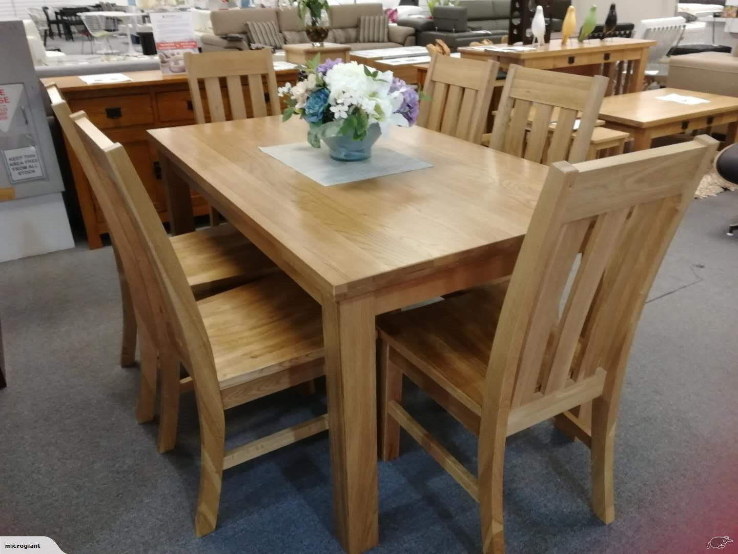*MG*High Quality 100% Solid Oak 7 pcs Dining set, 180cm*Special*