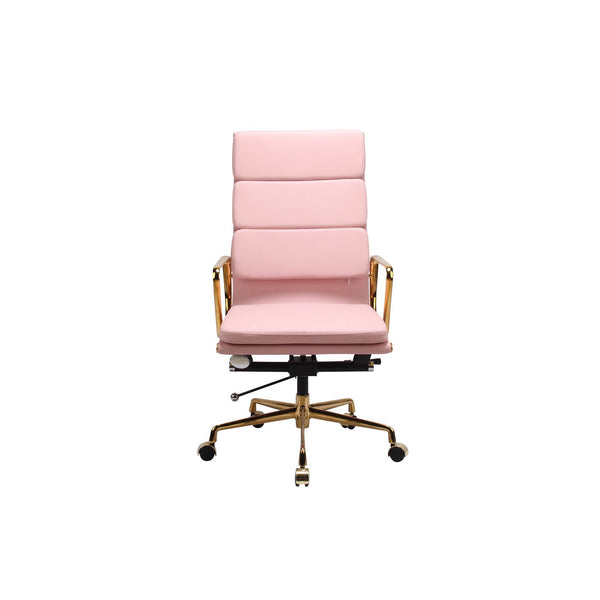 *MG*RP Genuine Leather Eames Soft Pad Office Chair, Pink color in stock, sample only