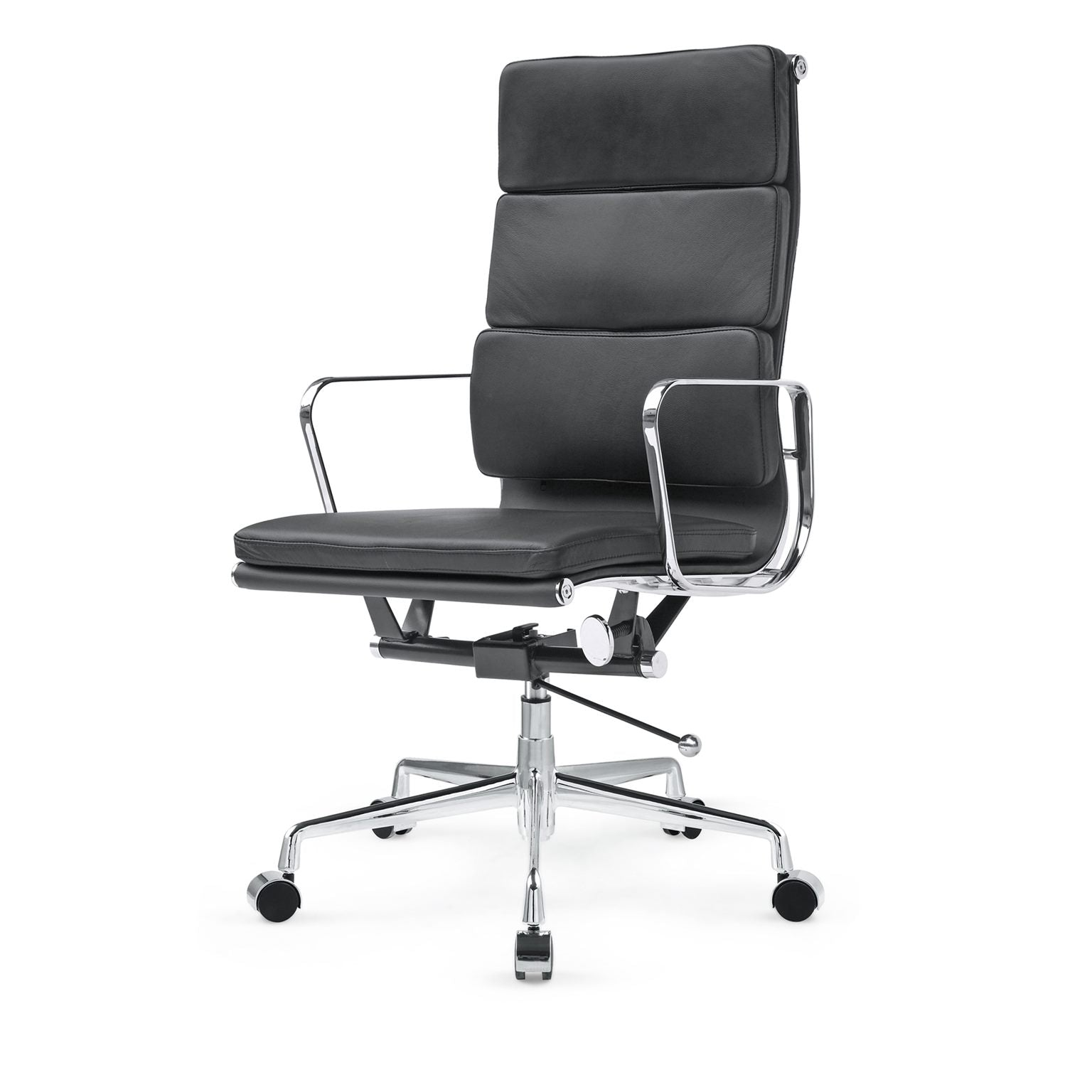 *MG*RP Genuine Leather Eames Soft Pad Office Chair, Black color in stock