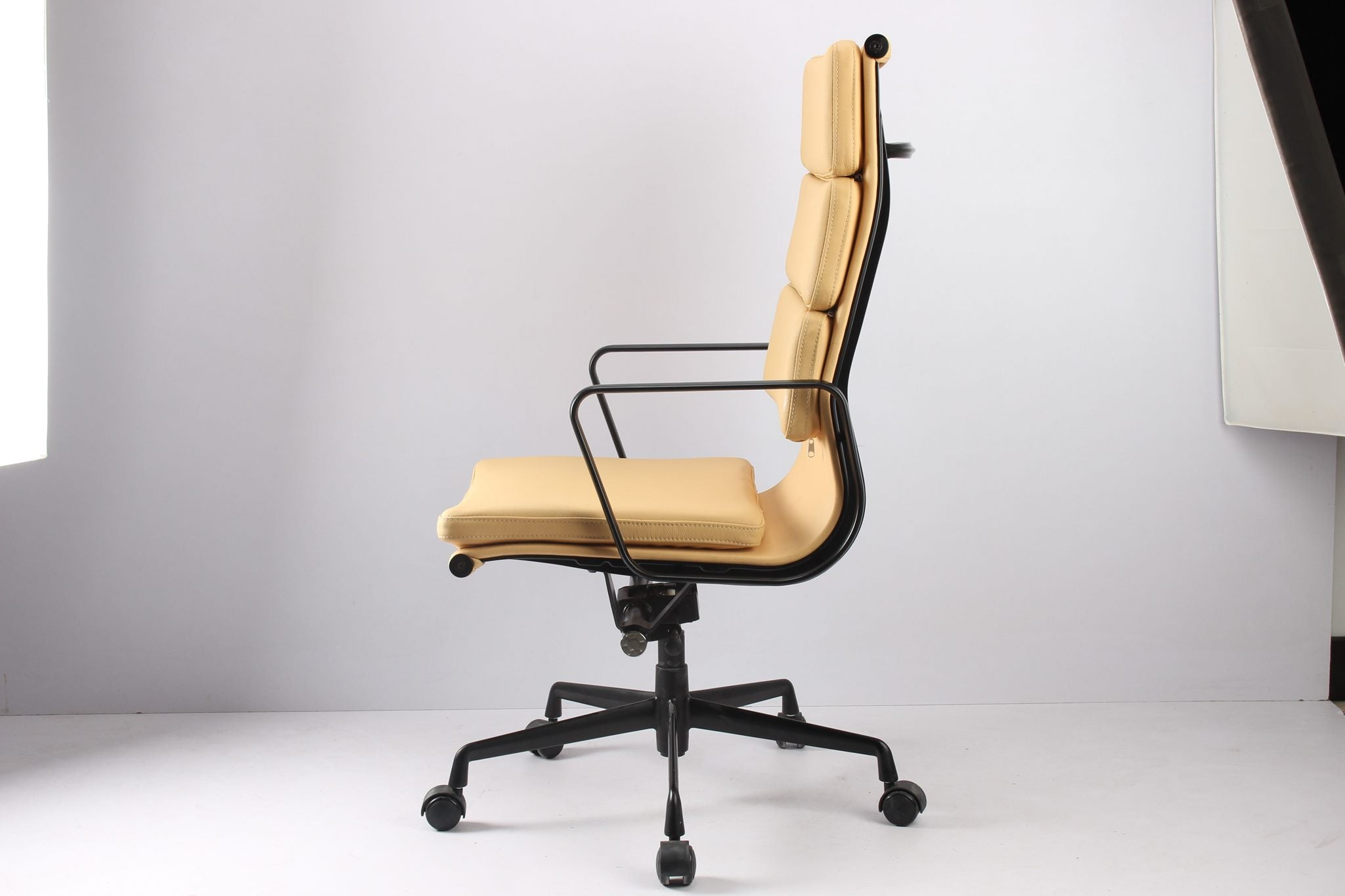 *MG*RP Genuine Leather Eames Soft Pad Office Chair, Beige color in stock