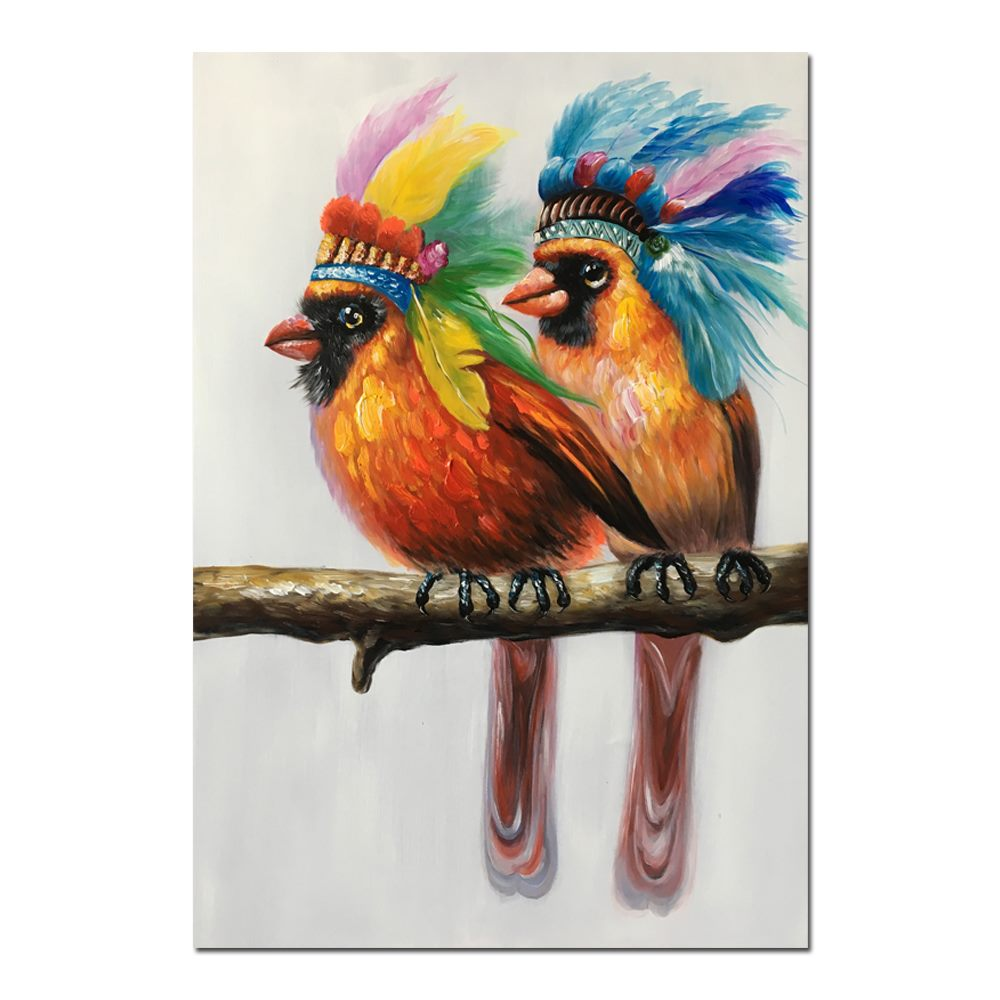 *MG*100% Hand Oil Painting lovely birds, Ready to Hang up