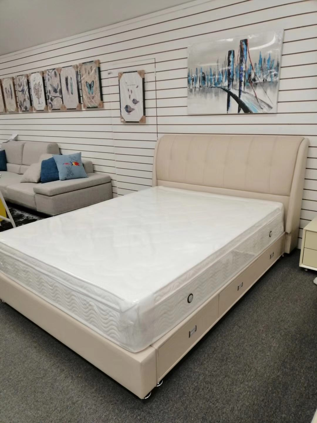 *MG* #885 Italian leather bed with 3 drawers