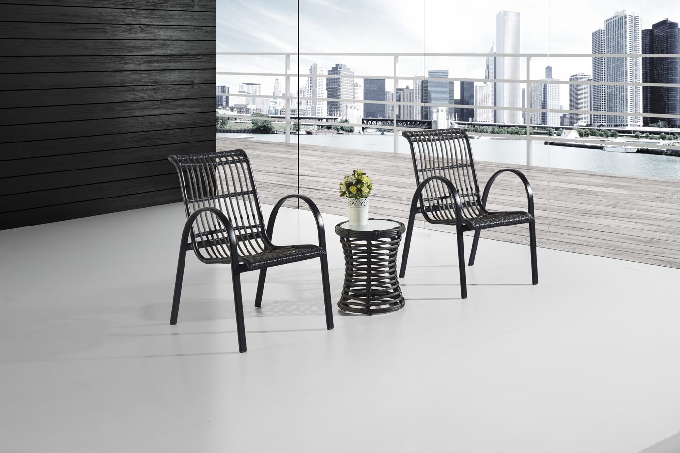 *MG* 3pcs Relax PE Rattan Outdoor set, *Special* Black & white in stock