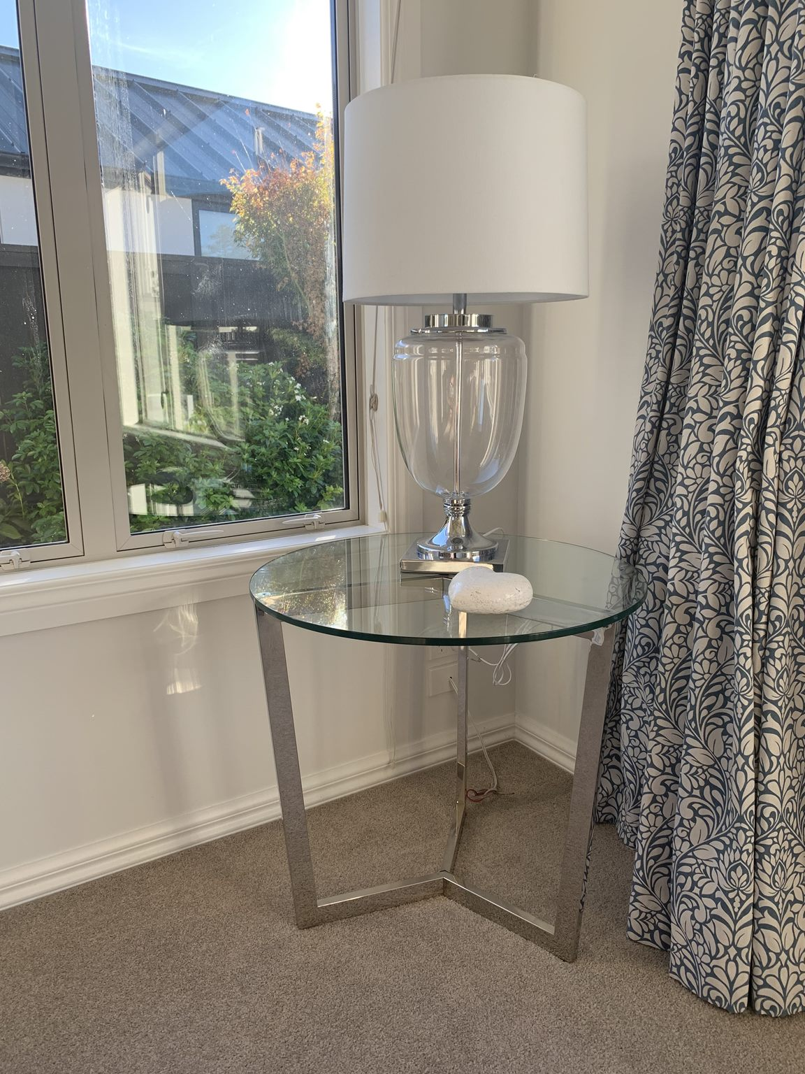 *MG* Stainless steel frame side table #423 see through black in stock