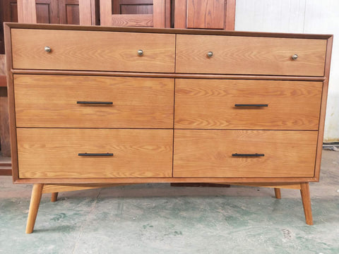 *MG*Mida Ash Veneer 2+4 drawers Cabinet( low boy) ,2colour  in stock