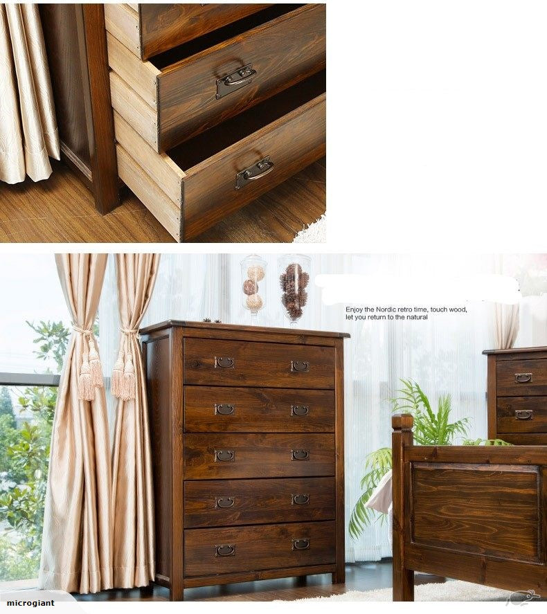 *MG* Solid NZ Pine 5 drawers Tall Boy, 2 color available