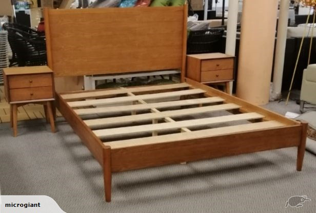 *MG*Mid Century style Solid Wood Queen Bed set 5pcs , white color in stock
