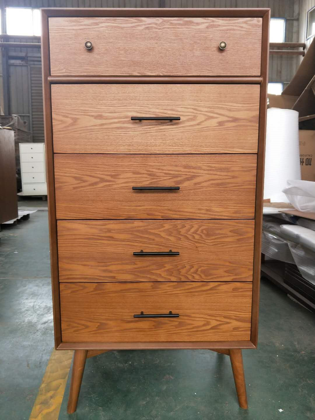 *MG*Mida Ash veneer 5 drawer Tall boy, white color in stock