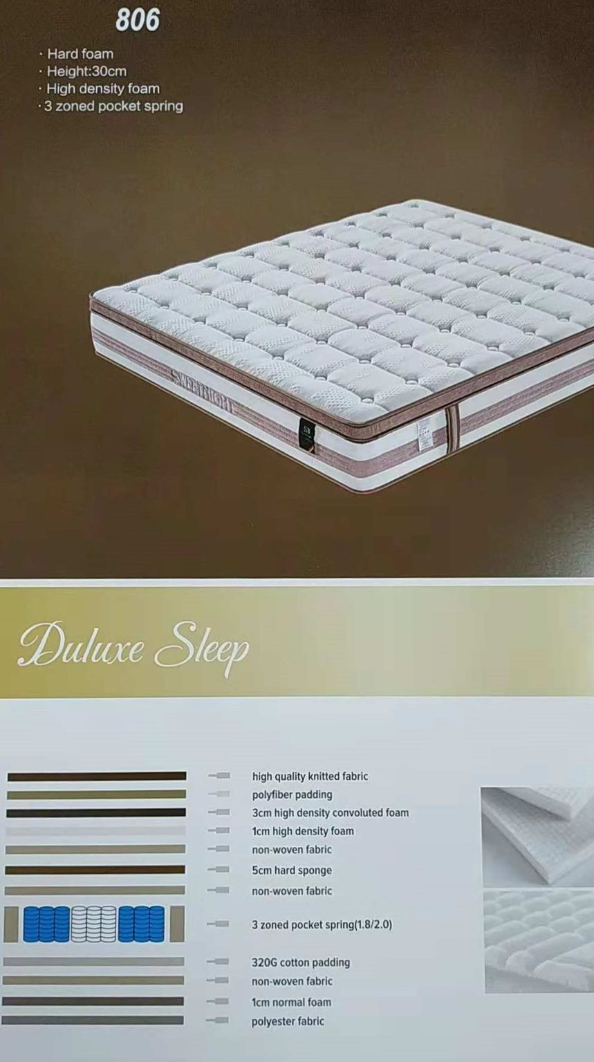 *MG*#806 Pillow top No Disturb Mattress in box, 5 years warranty