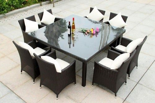 *Big Square Rattan dining set with 8 chairs*Special* Dark coffee color in stock
