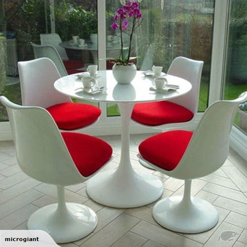*MG*White Fiberglass Tulip Armless chair