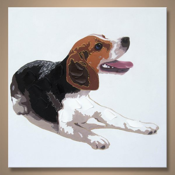 Hand Oil Painting Brown Dog