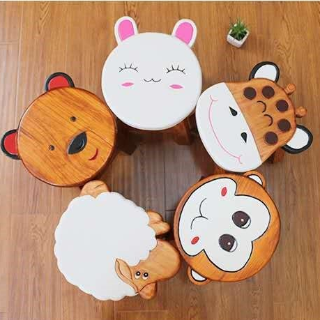 *MG*Solid Pine Lovely Animal kid's stool, 8 design in stock