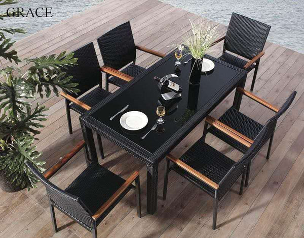 *MG*Grace 7pc PE Rattan outdoor Dining Set