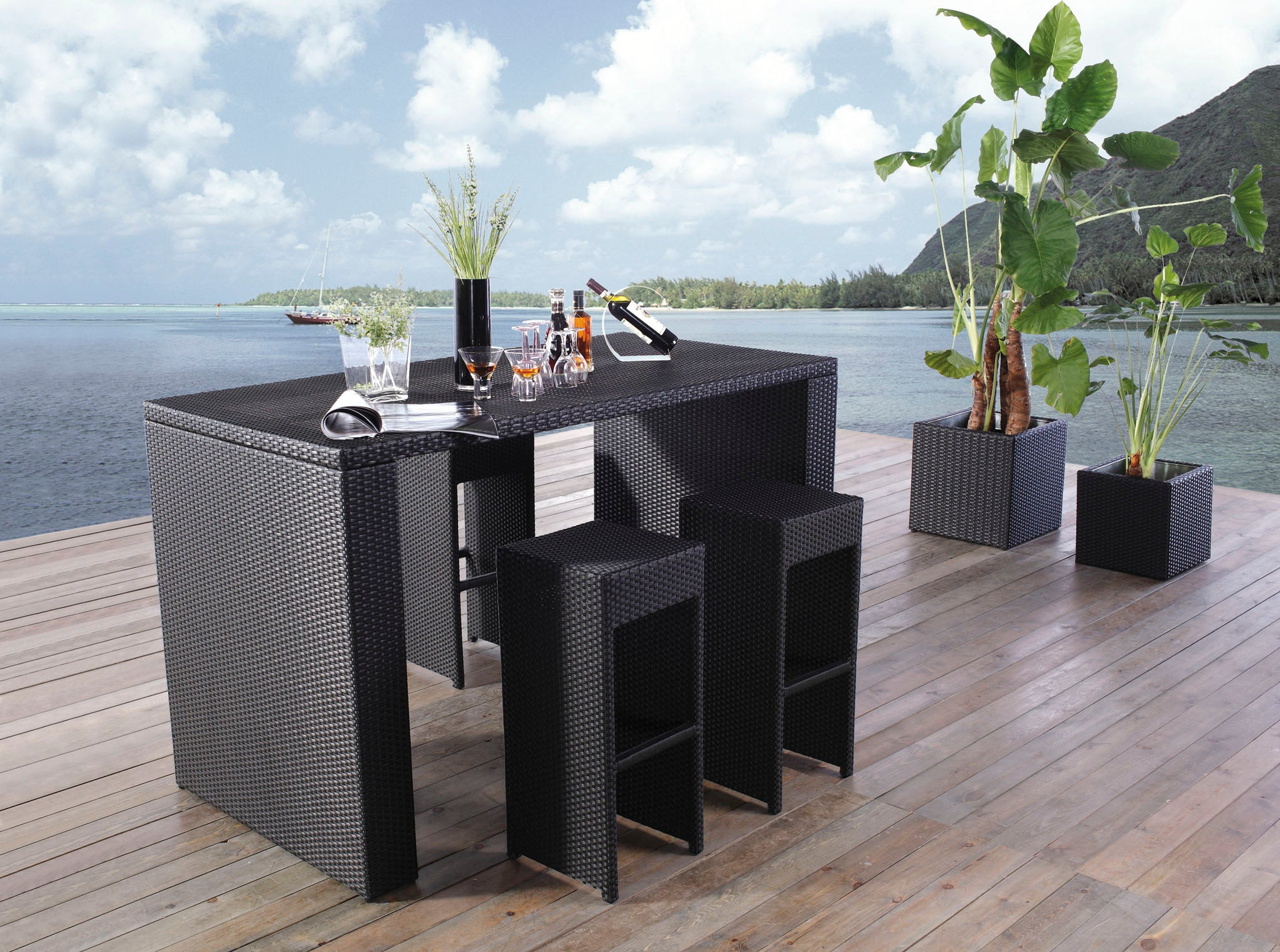 *MG*Hiview 7pc Outdoor Rattan Bar set Brown color in stock