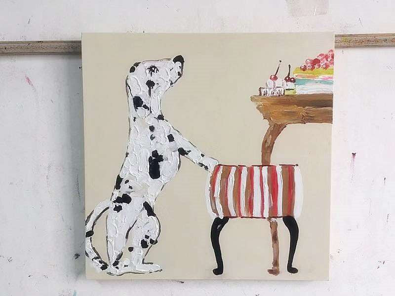 *MG*100% Hand Oil Painting Dalmatien , Ready to Hang up, in stock now
