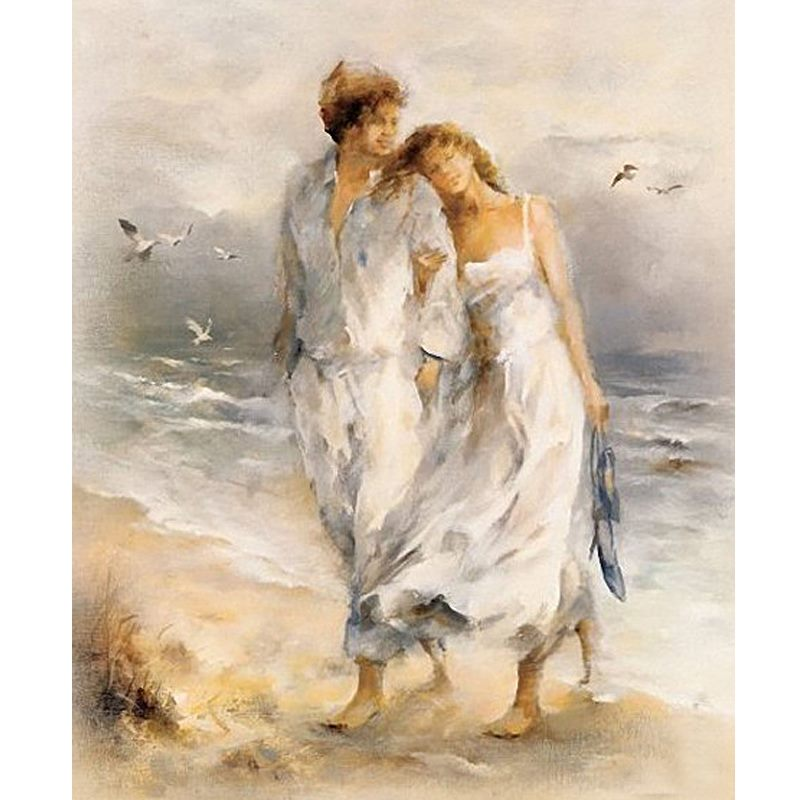 *MG*100% Hand Oil Painting Beach lovers, Ready to Hang up by order