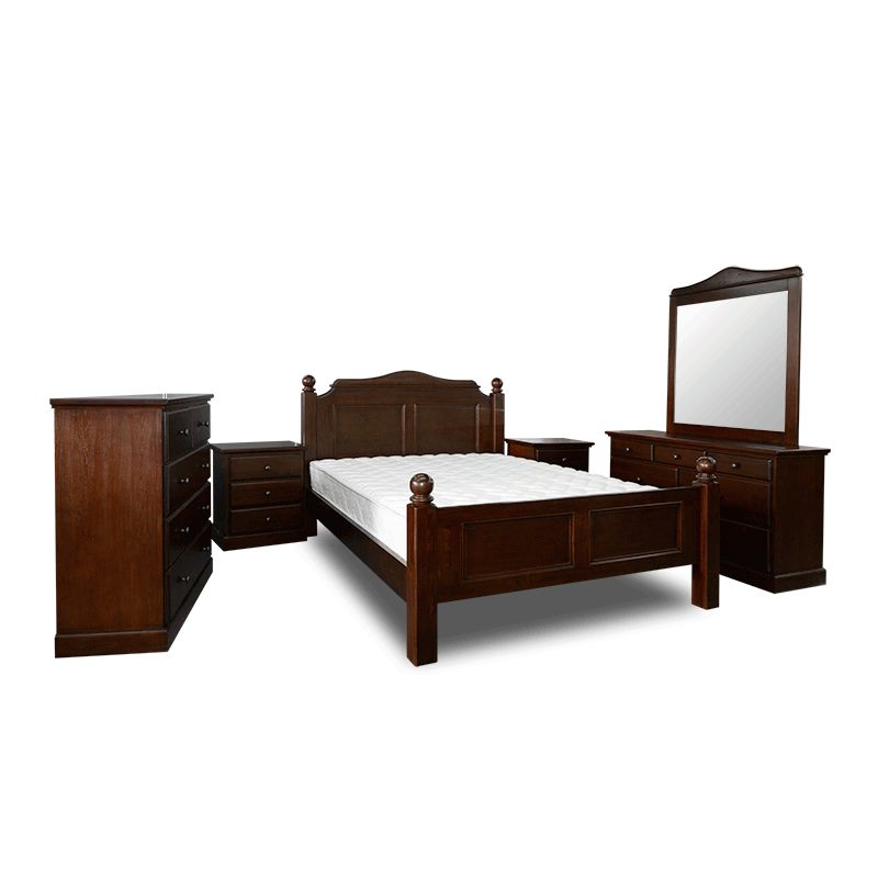 *MG* 4 pcs Solid Oak Queen Bed Set, 2 colors