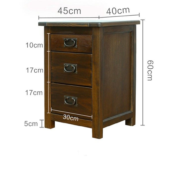 *MG* Solid Pine wood Bedside table with 3 drawers 60cmH , 2 color available