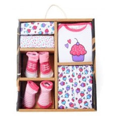 Gift box of baby clothing