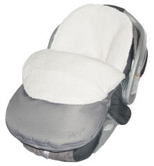 car seat with fleece cuddle bag in silver