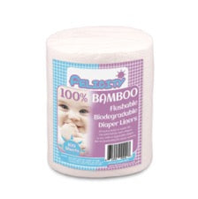 roll of Felicity Bamboo flushable diaper liners on white background