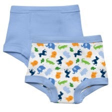 two pairs of i play training pants in zoo animal pattern and in blue