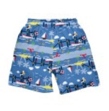 pair of i play. by green sprouts swim trunks in blue on white background