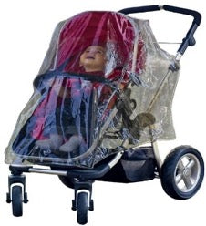 Child sitting in stroller with Jolly Jumper weathershield