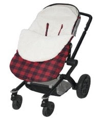 stroller with fleece snuggle bag in red plaid
