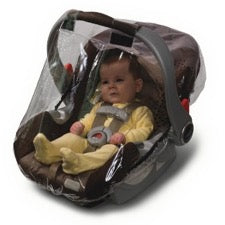 Infant sitting in baby car seat with Jolly Jumper Weathershield over it