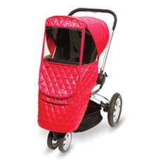 stroller with Manito Castle weathershield in red