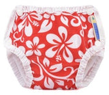 mother ease swim diaper in tropical flowers pattern on white background