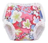 mother ease swim diaper in floral pattern on white background