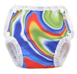 mother ease swim diaper in tie-dye pattern on white background