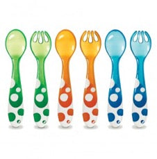 three spoons and three forks for infants in green, orange, and blue