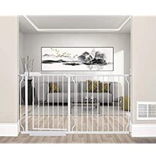 Munchkin extra tall and wide baby gate in living room