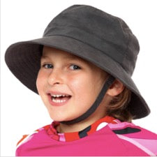 Laughing child wearing NoZone bucket hat in charcoal