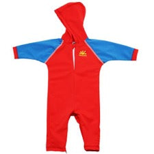 NoZone Hooded Baby Swimsuit in red with blue sleeves