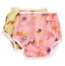 Rearz nursery plastic underpants in pink on white background